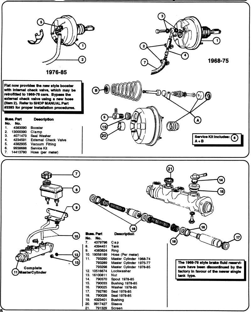 fiat spider brake master cylinder rh spiderroadster com Vacuum Line Diagram 3VZE Vacuum Line Diagram for Engine