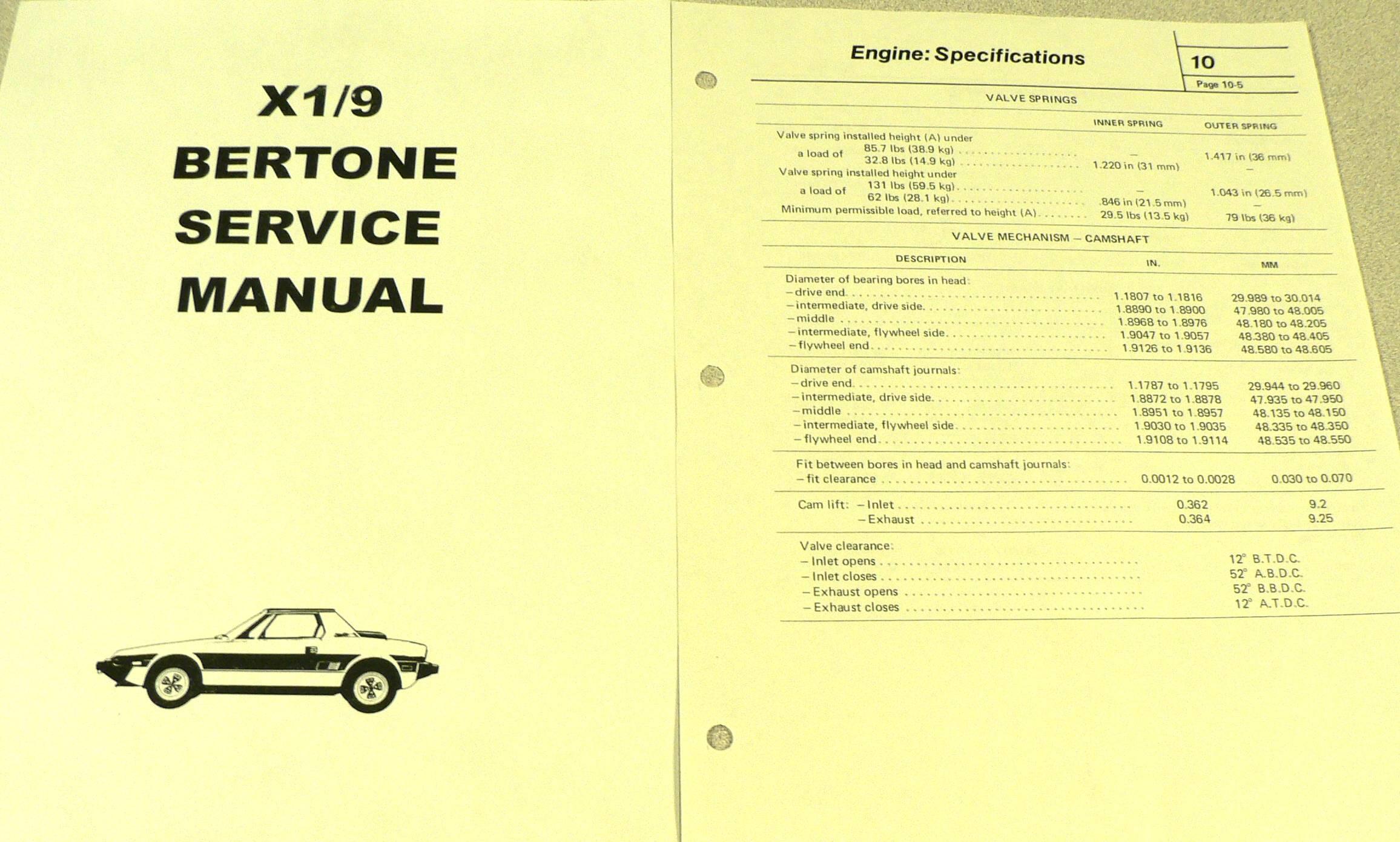 Fiat X1/9 SHOP REPAIR MANUAL. FIAT 3399 FIAT BERTONE X1/9. HAS 252 PAGES.